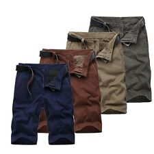 Mens Cotton Cargo Shorts Solid Baggy Short Trousers Pant Work Short Pants Summer