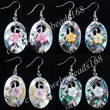 New Zealand Abalone Shell Oval Beads Dangle Earrings Pair Jewelry BR057
