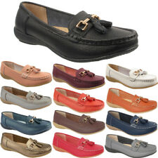 New Ladies Womens Casual Tassel Bar Slip On Leather Office Loafers Shoes Sizes