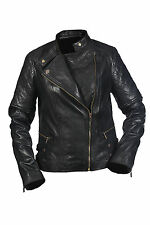 Hampton New Ladies Casual Retro Black Biker, 100% Leather Quilted Rock Jacket