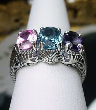 Edwardian/Victorian Gemstone Sterling Silver Filigree Ring Size: {Made To Order}