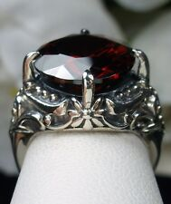 Victorian 6ct Round *Red Garnet* Sterling Silver Filigree Ring (Made To Order)