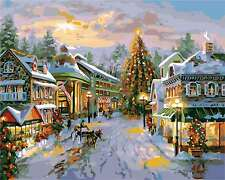 """Xmas Street DIY Paint By Number 16x20"""" Acrylic Painting On Canvas W/N Farme 1999"""