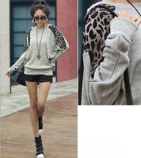 New Fashion Loose Oversize Tops Leopard Batwing Sleeve Long Casual T-Shirt