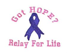 Relay for Life T Shirt Cancer Awareness Embroidered S/S 6 Colors Got Hope New