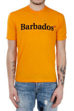 DSQUARED2 D2 New Man Orange 100% Cotton Short Sleeved T-shirt Faded Printed