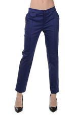 BLUMARINE New Woman Cotton Stretch Blue Casual Pants Trousers Made in Italy NWT