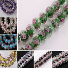 10PCS Lampwork Glass Round Faceted Charms Loose Spacer Beads Flower Jewelry Make