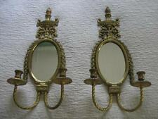 PAIR Vintage Heavy Brass Double Candle Mirrored Sconces-Excellent Condition