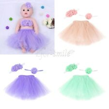 Newborn Baby Girl Tutu Skirt+Wrapped+Headband Costume Photography Photo Prop