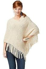 NWT INC Womens Tan Fringe Knit Poncho Sleeves Poncho Sweater Top Sz Small