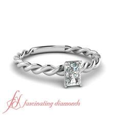 Solitaire Twisted Engagement Ring 1/2 Ct Radiant Cut:Very Good Diamond SI1 GIA
