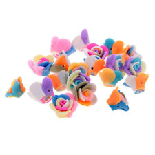 20pcs Polymer Clay Cute Flower Rose Beads DIY Findings Loose Beads Cross Hole