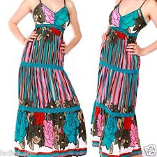 HIPPIE MAXI DRESS BEACH DRESS PUSH UP MULTICOLOUR BLUE 36 38 40 42 S M L XL