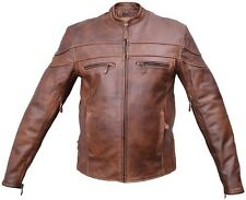 Mens NEW Cafe Brown Top Cowhide Leather Vented Motorcycle Biker Jacket Sizes