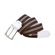 """Unisex Color Stripes Silver Alloy Pin Buckle PU Leather Belt Width 1 3/8"""""""