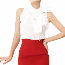 New Lady Silk Bow Stand Collar Sleeveless Shirt Blouse For Womens Top TC01 white