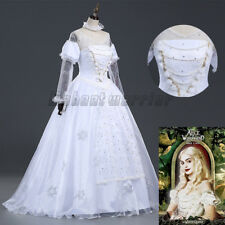 Alice in Wonderland The White Queen Cosplay Costume White Fancy Dress Adult Gown