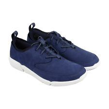 Clarks Triflow Form Mens Blue Nubuck Lace Up Lace Up Sneakers Shoes