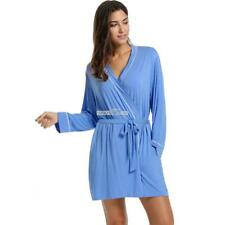Women's Kimono Robe Long Sleeve Lace Up Belted Sleepwear Nightgown S0BZ