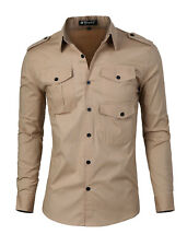 Man Chic Point Collar Long Sleeved Button Casual Button Down Shirt