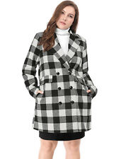 Women Plus Size Double Breasted Turn Down Collar Plaids Worsted Coat