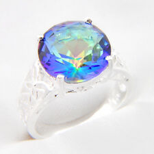 13MM Glary Classical Round Rainbow Mystic Fire Topaz Silver Ring Size 7 8 9