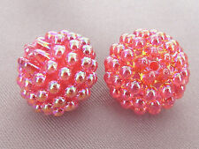 15mm TRANSLUCENT IRIDESCENT RED ACRYLIC PLASTIC BERRY LOOSE BEADS TY3169