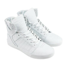 Supra Skytop Mens White Leather High Top Lace Up Sneakers Shoes