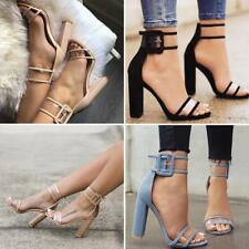 Women Transparent Block High Heels Ankle Strappy Buckle Open Toe Sandals Shoes