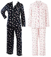 Ladies Slenderella 100% Cotton Flower Pyjamas Long Sleeved Button Top Floral PJs