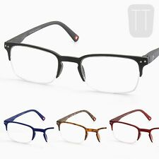New Semi-Rimless READING GLASSES & POUCH - Black, Blue & Red +1.0+1.5+2+2.5+3.0