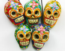 Day of the Dead Catrina Handpainted Skull Pendant Necklace Sterling Silver