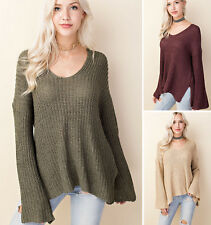 CHIC Loose Slouchy Sweater Flowy Bell Sleeve Oversized V-Neck Flowy Tunic Top