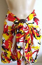 WHITE RED CAMOUFLAGE COTTON SHORT BEACH SARONG PAREO WRAP w COCONUT SHELL BUCKLE