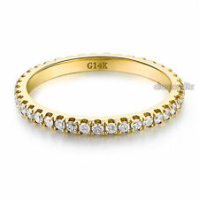 14K Yellow Gold Stackable Wedding Band Ring Eternity 0.42 Ct Natural Diamonds