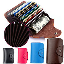 Men Women Wallet Genuine Leather Blocking Pocket Holder Credit Card Case C