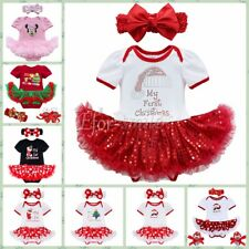 Girls Baby My First Christmas XmasTree Santa RomperOutfit Tutu Dress Clothes Set