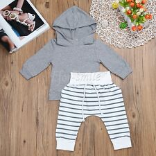 Toddler Kids Baby Boys Striped Hooded Tops +Pants 2Pcs Outfits Set Clothes