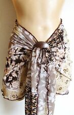 BROWN BEIGE FLORAL PATCHWORK SHORT BEACH SARONG PAREO WRAP COCONUT SHELL BUCKLE