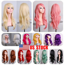 US Women Ladies Long Cury Hair Party Full Wig Cosplay Party Christmas Halloween