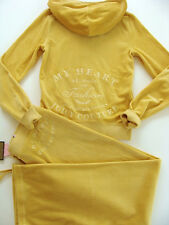 Juicy Couture Yellow My Heart Belongs to Fashion Tracksuit Hoodie Set Embroidrey