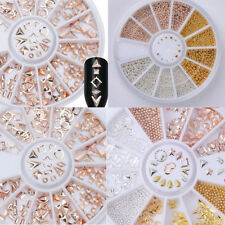 Rose Gold 3D Nail Art Decoration Rhinestones Rivet Studs Wheel Steel Bead DIY C