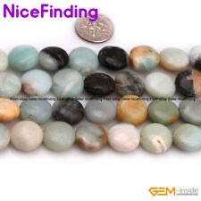 "14mm Natural Gemstone Coin Assorted Stone Beads For Jewelry Making Strand 15""DIY"
