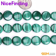 Grade AAA Natural Coin Green Malachite Stone Beads For Jewelry Making Strand 15""