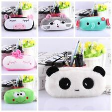 Cute Cartoon Animal Pencil Pen Case Plush Makeup Cosmetic Pouch Bag Zipper C