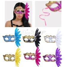Women's Feather Glitter Masquerade Eye Face Mask Halloween Fancy Costume Party