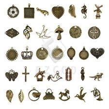 2-100pcs Antique Brass Metal Charm Pendant Spacer Jewellery Makings 35 style YB
