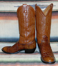Womens Vintage Nocona Brown Alligator Belly Butterfly Cowboy Boots 8 M Exc Cond