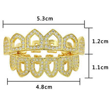 Grillz Set 18k Gold Plated Iced Out Four Open Face Tooth Top Bottom Teeth Grills